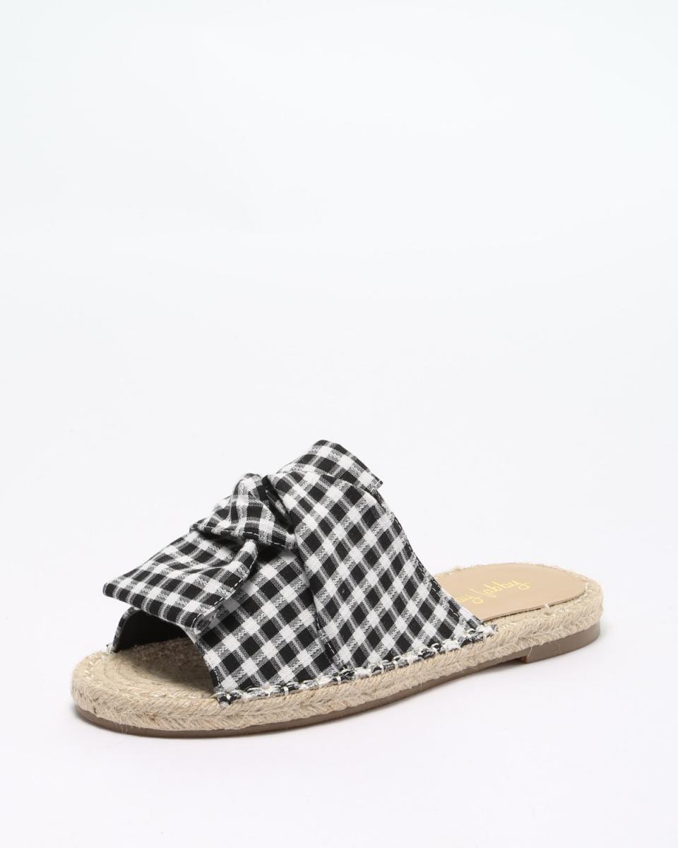 Fabby fabby / BK / GM色带螺纹李平黄麻凉鞋○33571-BK / GM /女装