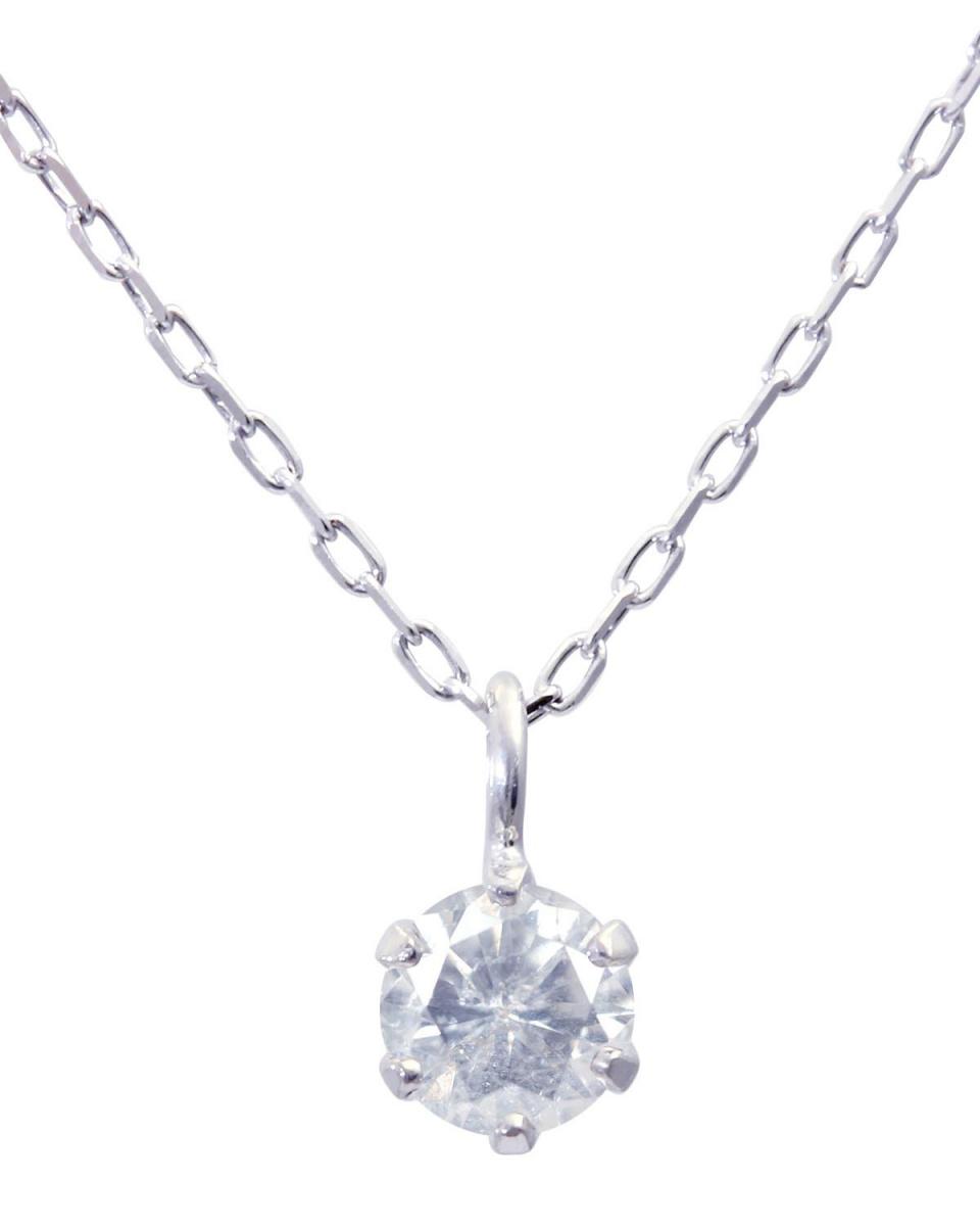 鉑金鑽石及黃金飾品COLLECTION / PT900天然鑽石0.08ct 6釘紋鉑金項鍊○NSUZ-7998-REJ008CT-A40-PT /女裝