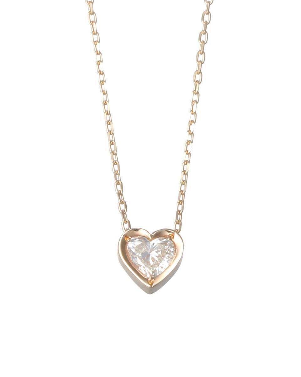 Coerubijoux鑽石/ K10YGK10YG鑽石0.1ct心形項鍊○JCP-0873 /女裝