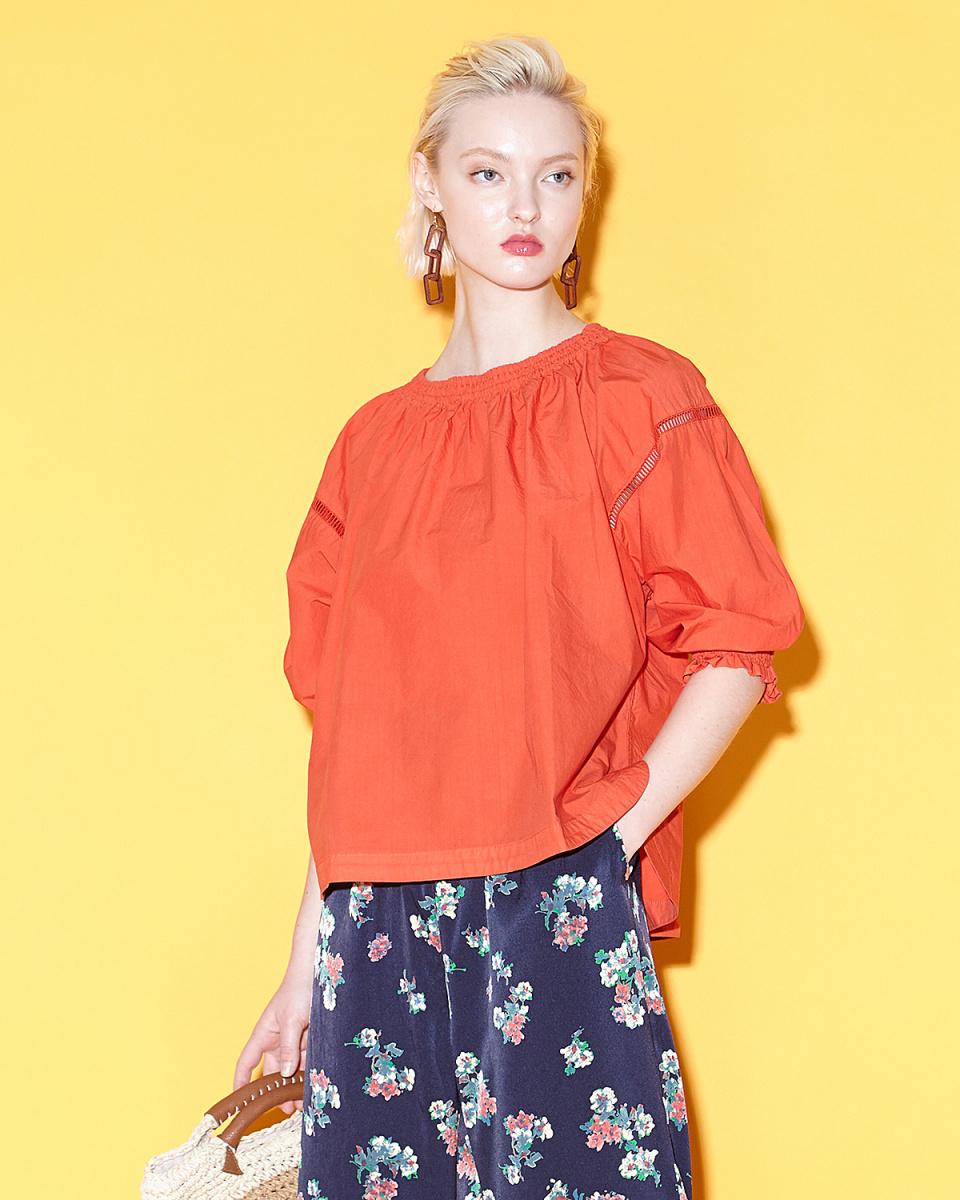 Grandma Mom Daughter / RED smock shirt ○ GS811821 / Women's