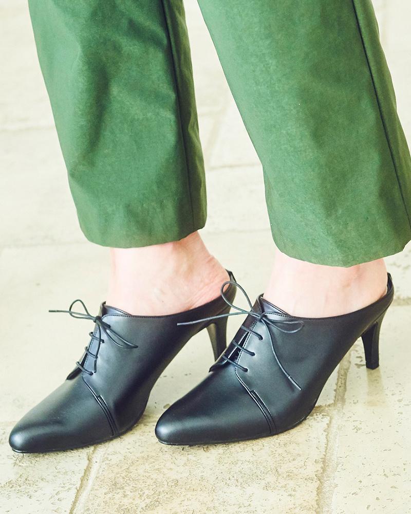 劳纳LEA /黑色的系带设计骡子泵○0236 /女装