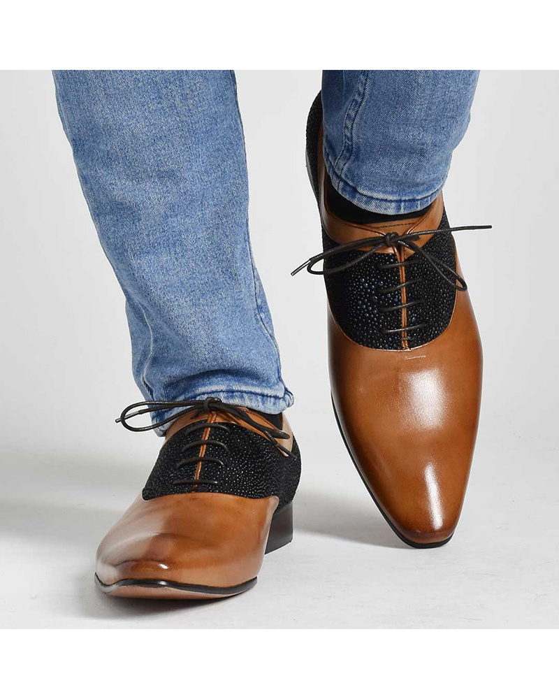 LUCIUS / Brown switching within the feather leather shoes ○ 510-31 / Men's