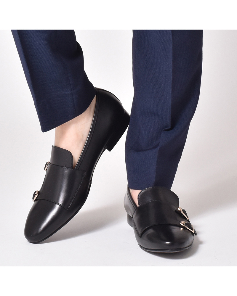 LUCIUS / black double monk strap shoes ○ 920-L2 / Men's