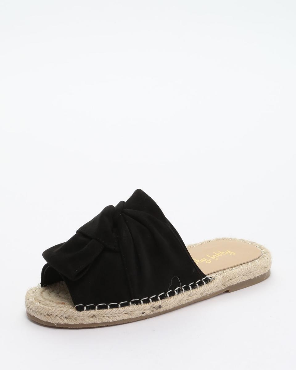 Fabby fabby / SD-BLACK ribbon threaded Li flat jute sandals ○ 33571-SD / BK / Women's