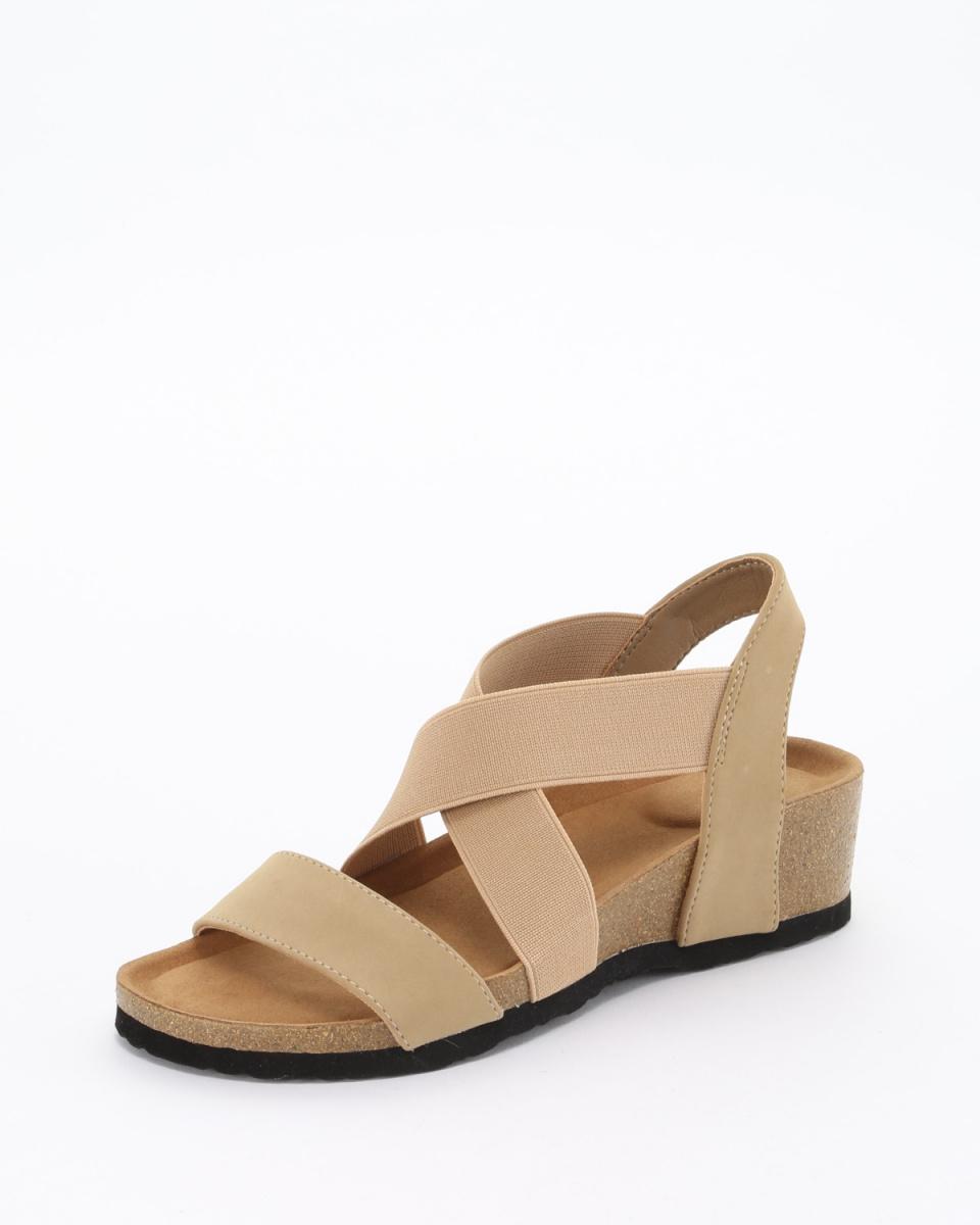 Fabby fabby /米色泡沫橡膠的交叉帶束泡沫楔涼鞋○33681-BE /女性