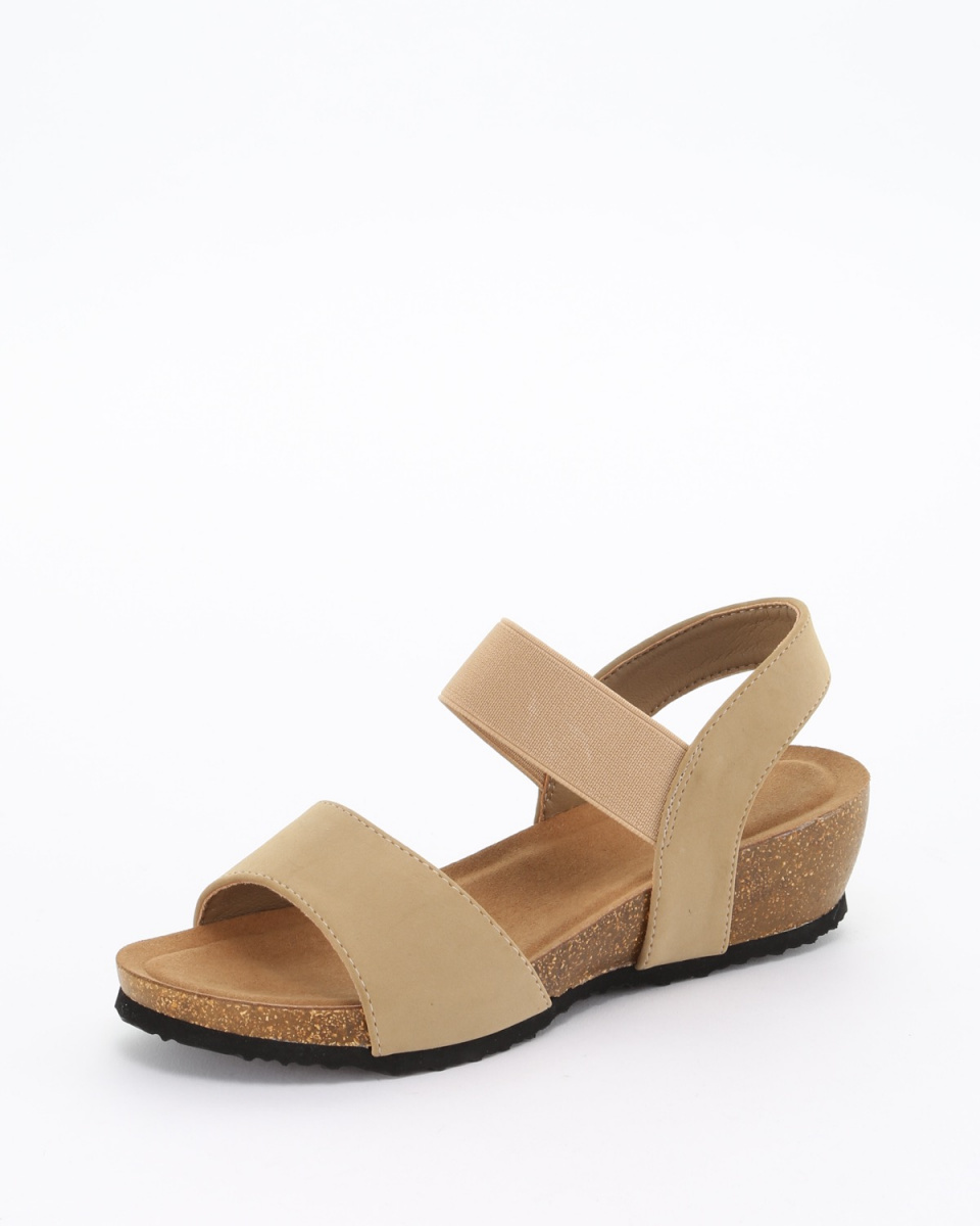 Fabby fabby /米色橡膠帶泡沫坡跟涼鞋○33685-BE /女裝