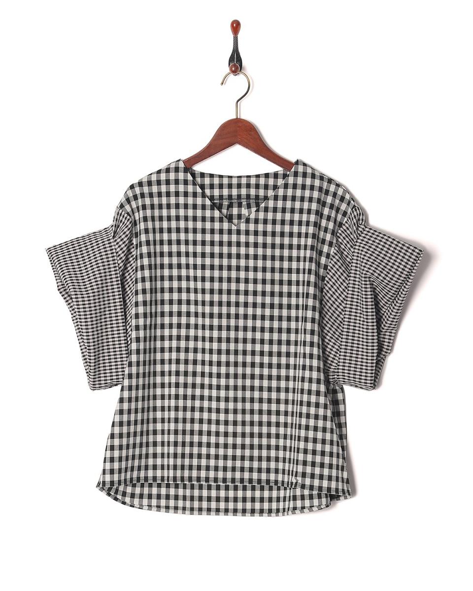 vingtrois /黑色系条纹布检查BL○182-55241 /女装
