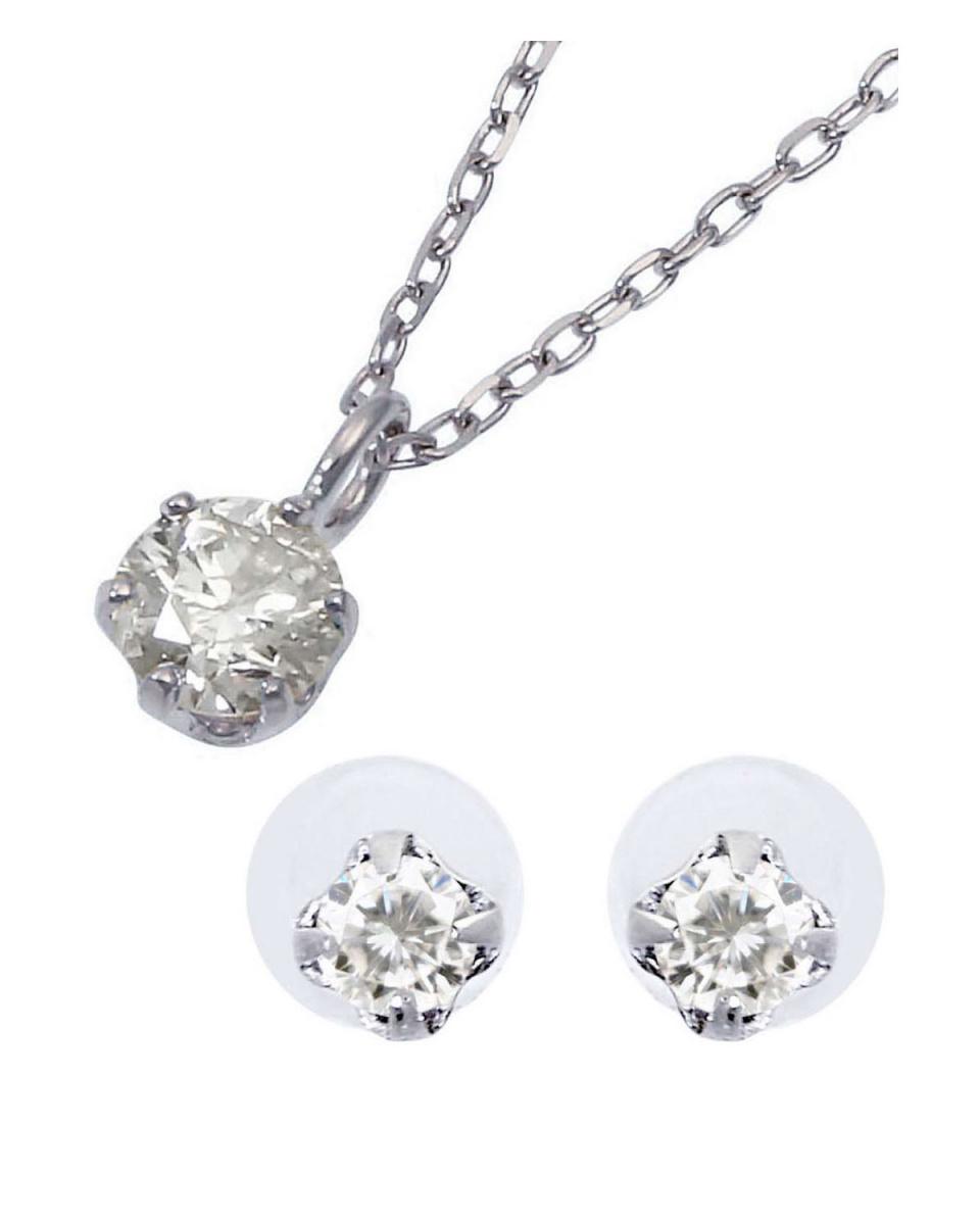 AKOYA PEARL/DIAMOND JEWELRY_HAPPY BAG / K10WG 天然ダイヤモンド 0.1ct 6本爪ネックレス & K10WG 計0.04ct 両耳プチ スタッドピアス[K10WG/2点合計0.14ct]○2019-06-DIA-02 / ウィメンズ