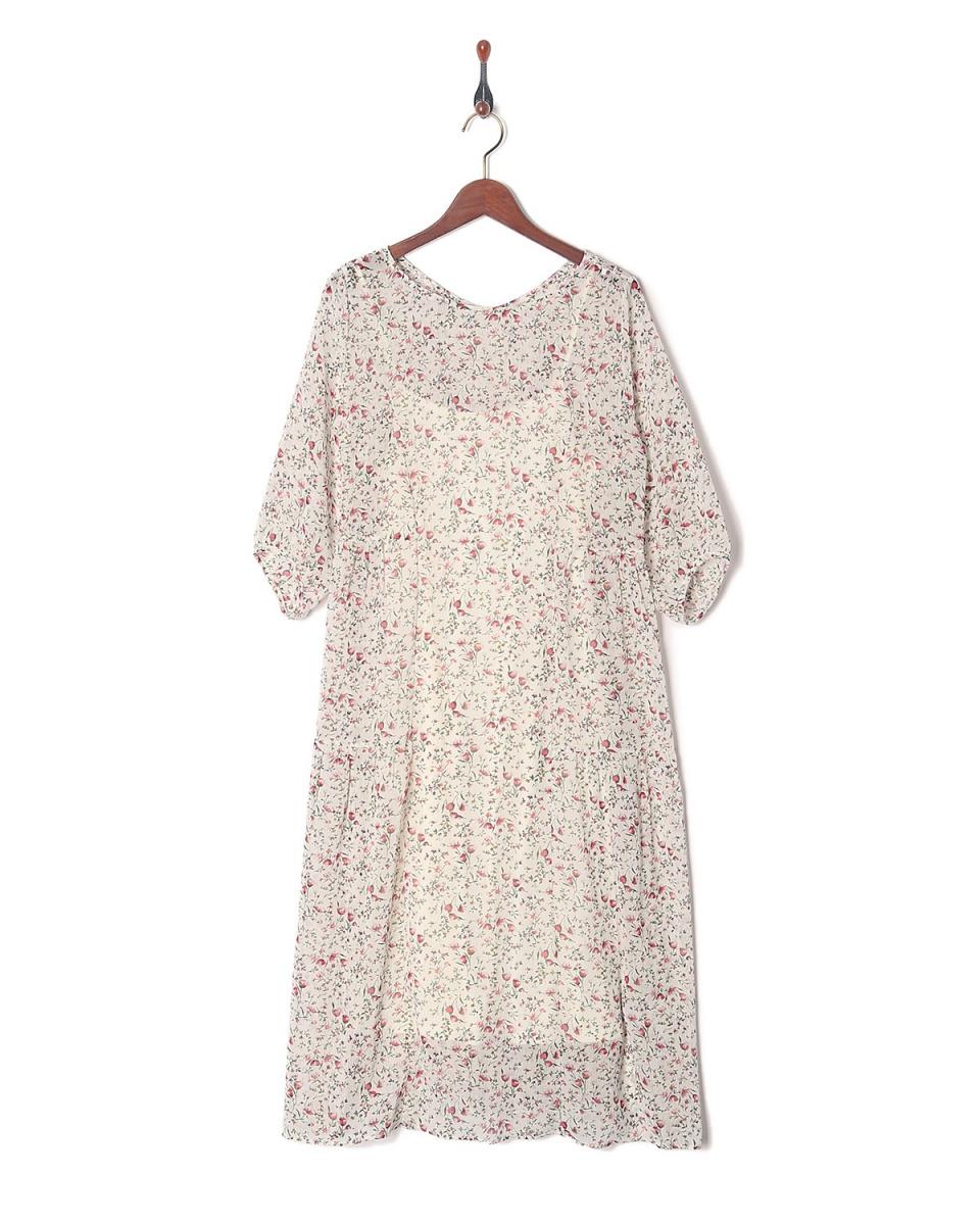 RewdeRew /白色碎花雪纺长礼服(9R05-03118)○23105-3190002 /女装