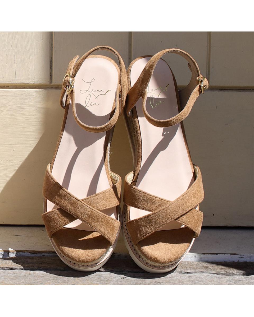 劳纳LEA / L布朗黄麻平台运动凉鞋○S115 /女装