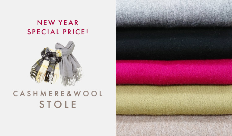 CASHMERE & WOOL STOLE -NEW YEAR SPECIAL PRICE!-