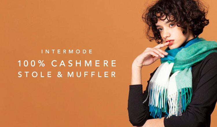 INTERMODE 100%CASHMERE STOLE & MUFFLER