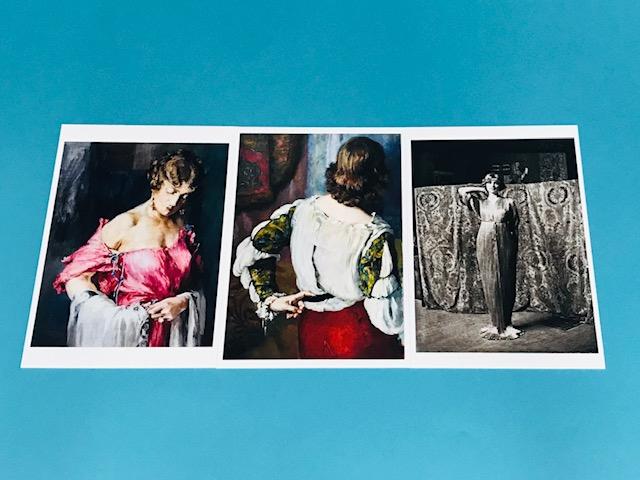 ショップで買えるポストカード。左はデルフォスを試着する妻のアンリエットをマリアノが描いたもの。中央はブラウスのディテールが素敵だったので購入。右はマリアノが撮影したデルフォスを着たモデル。